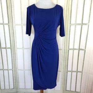 Slinky Cold Shoulder Draped Ruched Sheath Dress